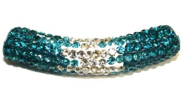 10mm x 45mm 198 St - Pave Crystal Spacer Tube - Teal-turquoise-clear - 1045022 - SM03